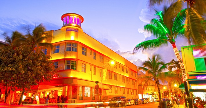 Miami Beach, Florida Moving traffic hotels and restaurants at su